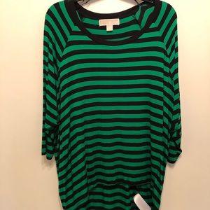 Michael Kors navy and green striped shirt